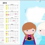 Convite Calendário 2014 Frozen Cute Roxo e Azul 1
