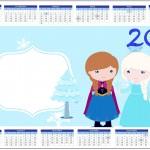 Convite Calendário 2014 Frozen Cute Roxo e Azul