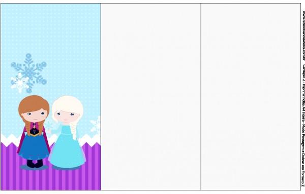 Convite, Cardápio ou Cronograma em Z Frozen Cute Roxo e Azul