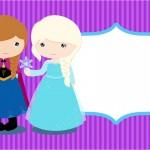 Convite Frozen Cute Roxo e Azul