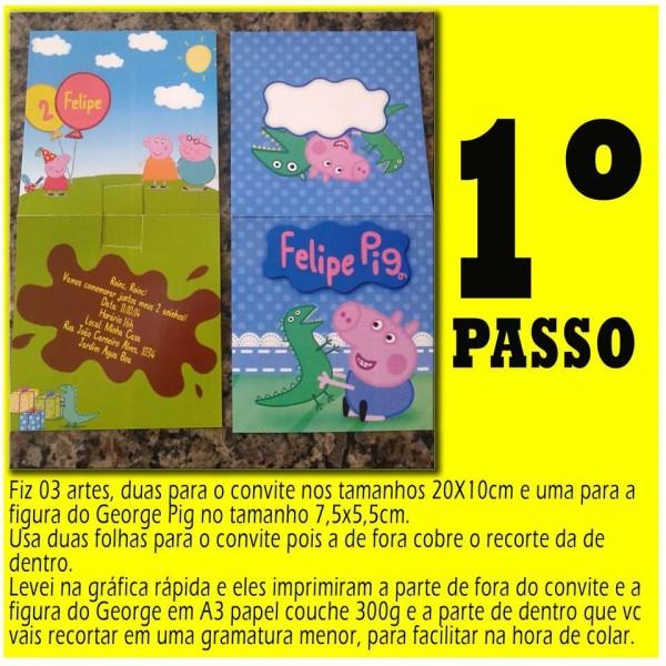 Convite George Pig Pop Up DIY 2