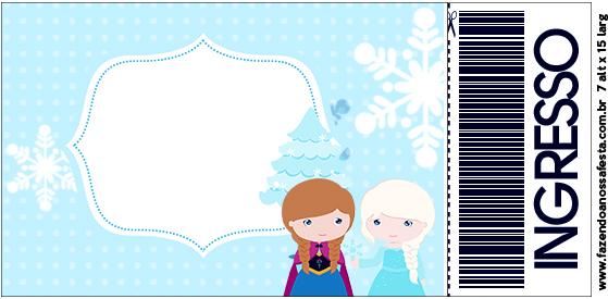 Convite Ingresso Frozen Cute Roxo e Azul