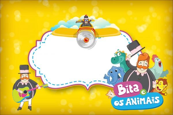 Convite, Moldura e Cartão Bita e os Animais para Meninos