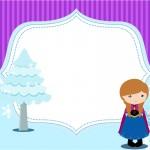 Convite, Moldura e Cartão Frozen Cute Roxo e Azul