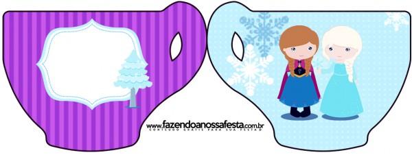 Convite Xícara Frozen Cute Roxo e Azul