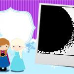 Convite com Foto Frozen Cute Roxo e Azul