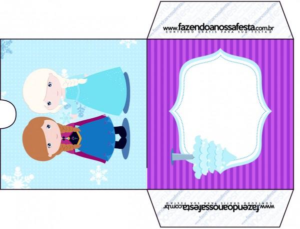 Envelope CD DVD Frozen Cute Roxo e Azul