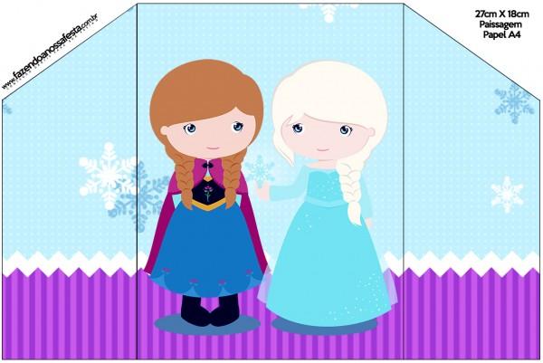 Envelope Convite Frozen Cute Roxo e Azul