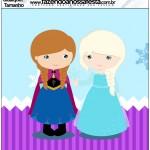 Molde Quadrado Frozen Cute Roxo e Azul