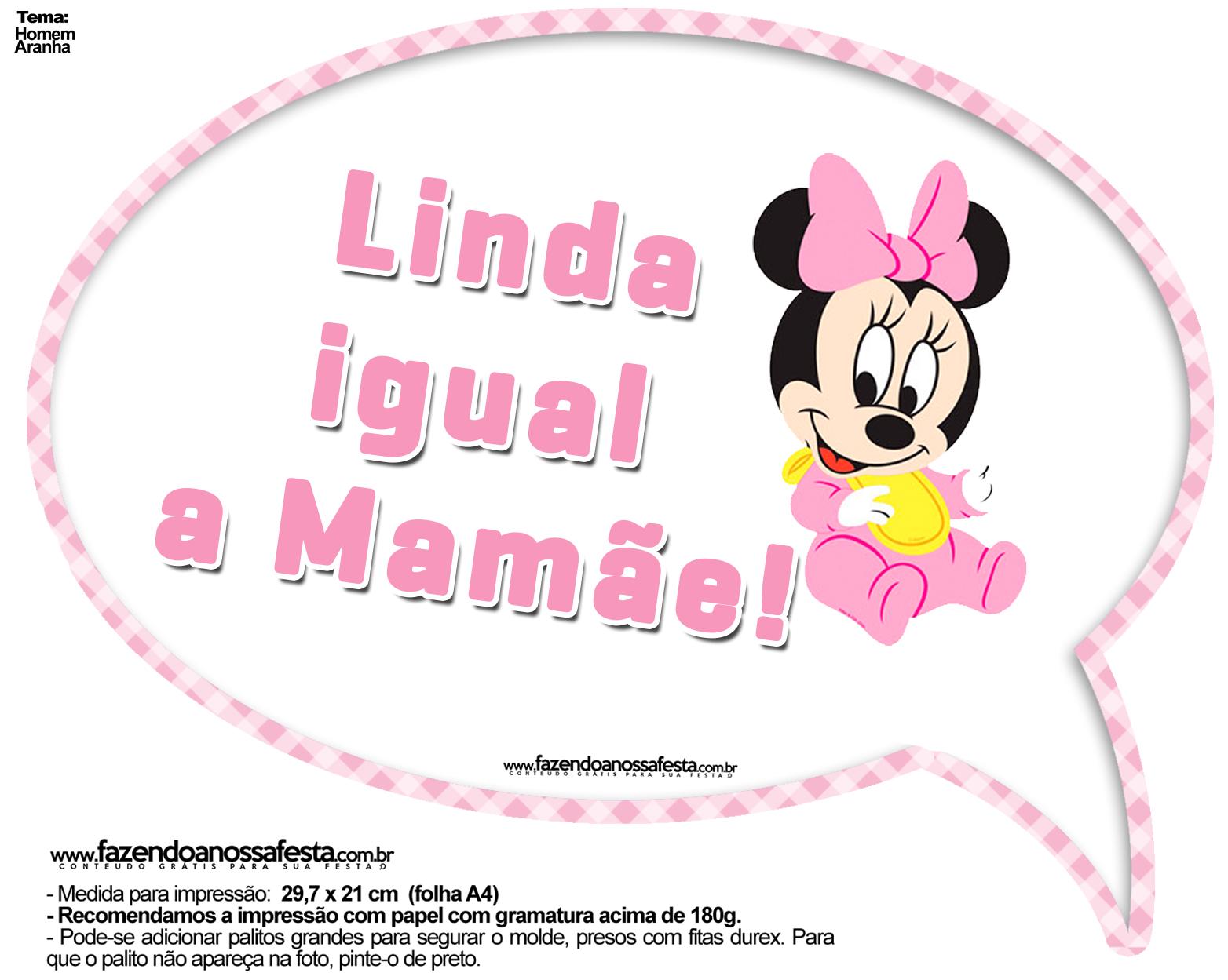 Plaquinhas Divertidas Minnie Baby Fazendo A Nossa Festa