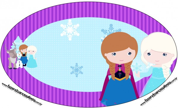 Placa Elipse Frozen Cute Roxo e Azul