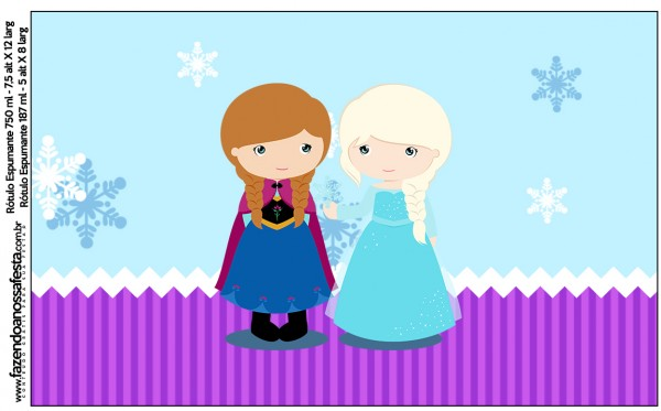 Rótulo Espumante, Vinho e Espumante Frozen Cute Roxo e Azul