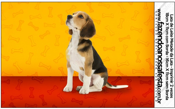Rótulo Lata de Leite Cachorrinho Beagle