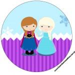 Rótulo Latinhas, Tubetes e Toppers Frozen Cute Roxo e Azul