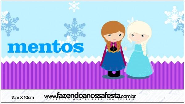 Rótulo Mentos Frozen Cute Roxo e Azul