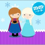 Rótulo Mini M&M Frozen Cute Roxo e Azul