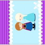 Rótulo Pé de Moleque Yoki Frozen Cute Roxo e Azul