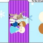Rótulo Tic Tac Frozen Cute Roxo e Azul