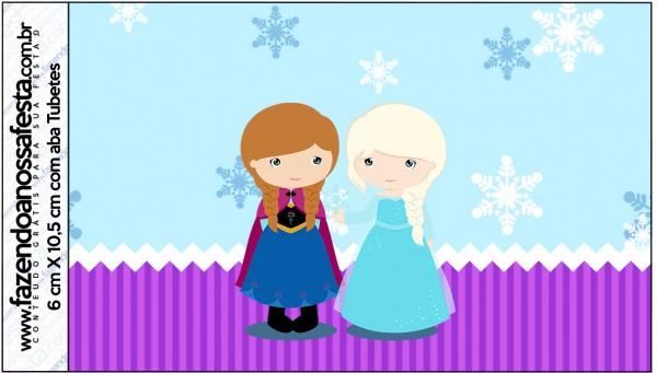 Rótulo Tubetes Frozen Cute Roxo e Azul