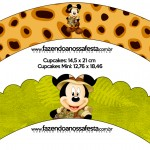 Saias Wrappers para Cupcakes Mickey Safari