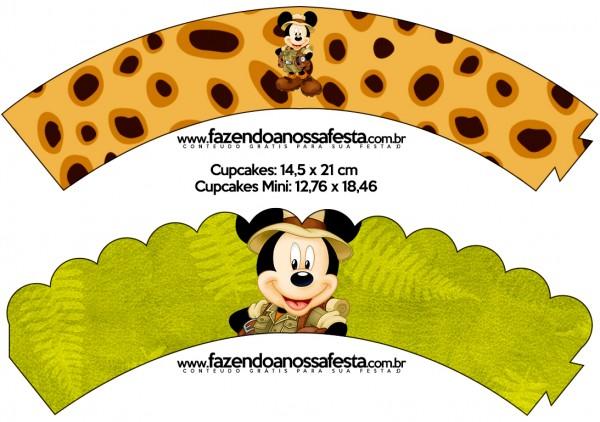 Saias Wrappers para Cupcakes Mickey Safari
