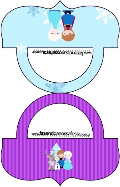 Saquinho de Balas Bolsinha Frozen Cute Roxo e Azul