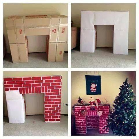 Ideias para o Natal - Lareira com caixas, papel camursa e fita
