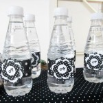 Garrafinha de Água Festa Preto e Branco