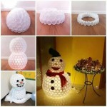 Boneco de Neve feito com Copos Plásticos