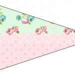 Bandeirinha Sanduiche 6 Floral Verde e Rosa