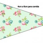 Bandeirinha Sanduiche Floral Verde e Rosa