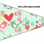 Bandeirinha Sanduiche Passarinho Vintage Rosa e Verde 5