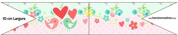 Bandeirinha Sanduiche Passarinho Vintage Rosa e Verde