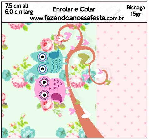 Bisnaga Brigadeiro 15 gr Corujinha Vintage Rosa e Verde