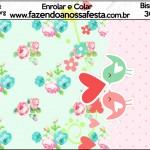Bisnaga Brigadeiro Passarinho Vintage Rosa e Verde