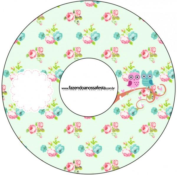 CD DVD Corujinha Vintage Rosa e Verde