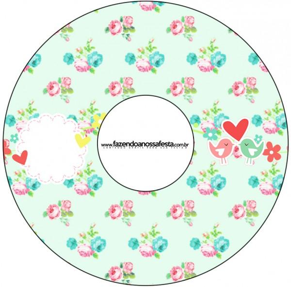 CD DVD Passarinho Vintage Rosa e Verde