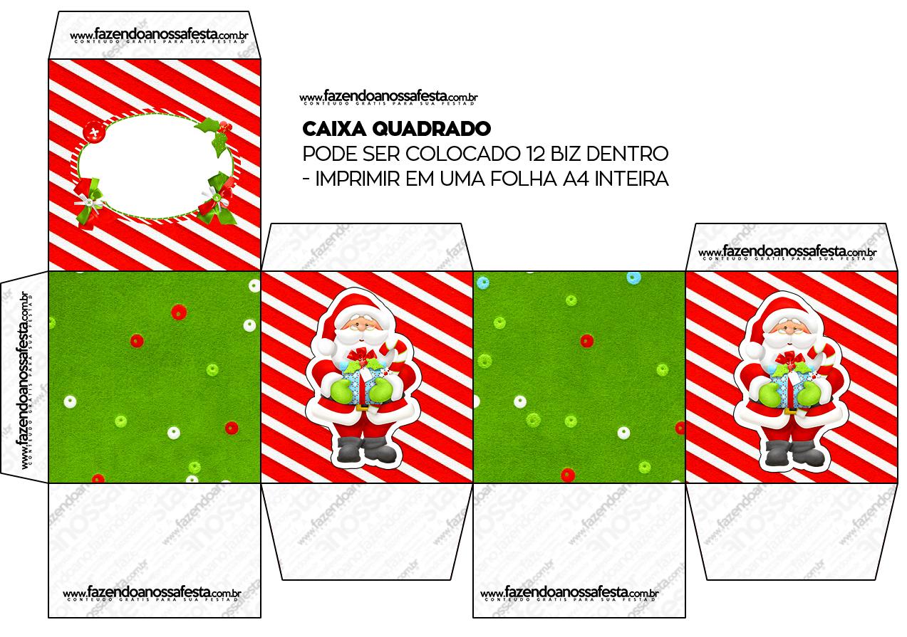Caixa Bis Natal Vermelho E Verde Fazendo A Nossa Festa