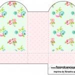 Caixa Coração Floral Verde e Rosa