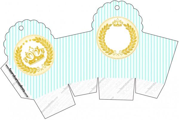 Caixa Cupcake Coroa de Príncipe Verde