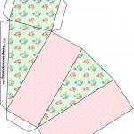 Caixa Fatia Floral Verde e Rosa