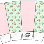 Caixa Pipoca Floral Verde e Rosa