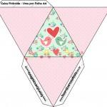 Caixa Pirâmide Passarinho Vintage Rosa e Verde