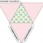 Caixa Pirâmide xFloral Verde e Rosa