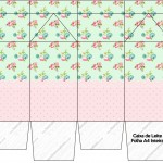 Caixa de Leite Floral Verde e Rosa