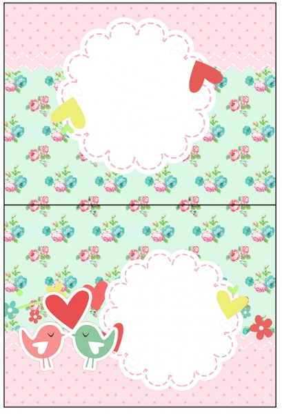 Cartão Agradecimento de Mesa Passarinho Vintage Rosa e Verde