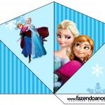 Cone Guloseimas 4 lados Frozen Azul