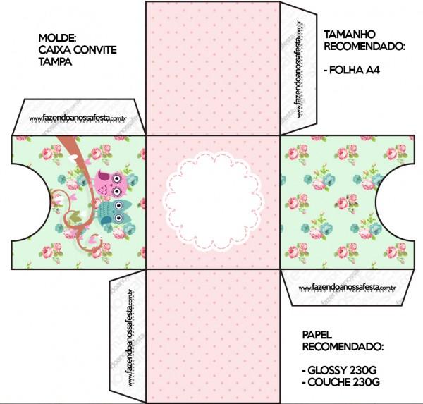 Convite Caixa Tampa Corujinha Vintage Rosa e Verde