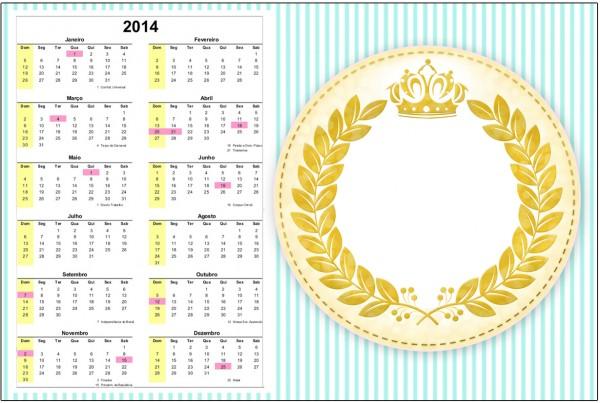 Convite Calendário 2014 2 Coroa de Príncipe Verde