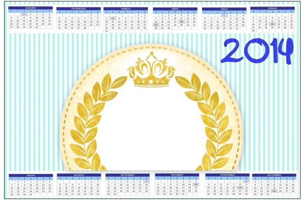 Convite Calendário 2014 Coroa de Príncipe Verde